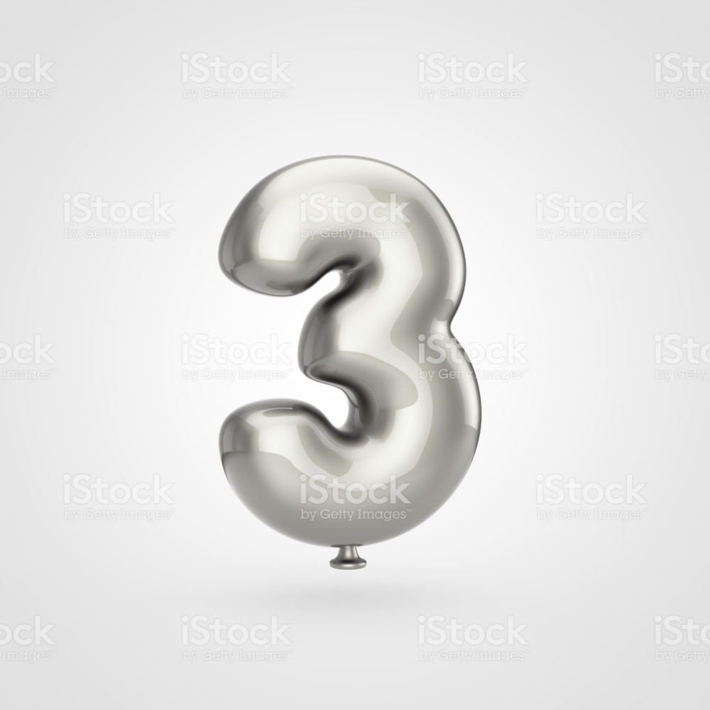 Balloon Number 3 3d Render Of Glossy Silver Inflated Font With Glint Number Balloons Silver Balloon Alphabet Photos