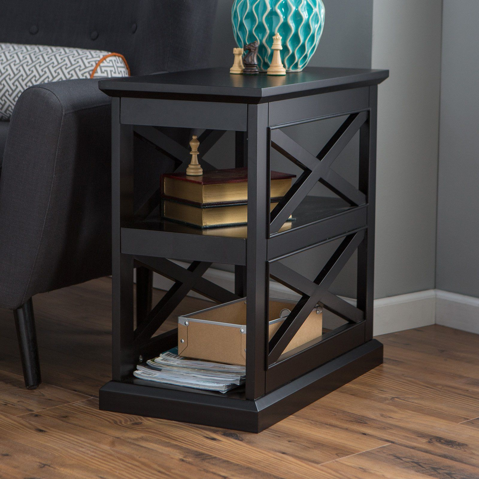 Belham Living Hampton Chair Side Table Black From Hayneedle Com Room End Tables