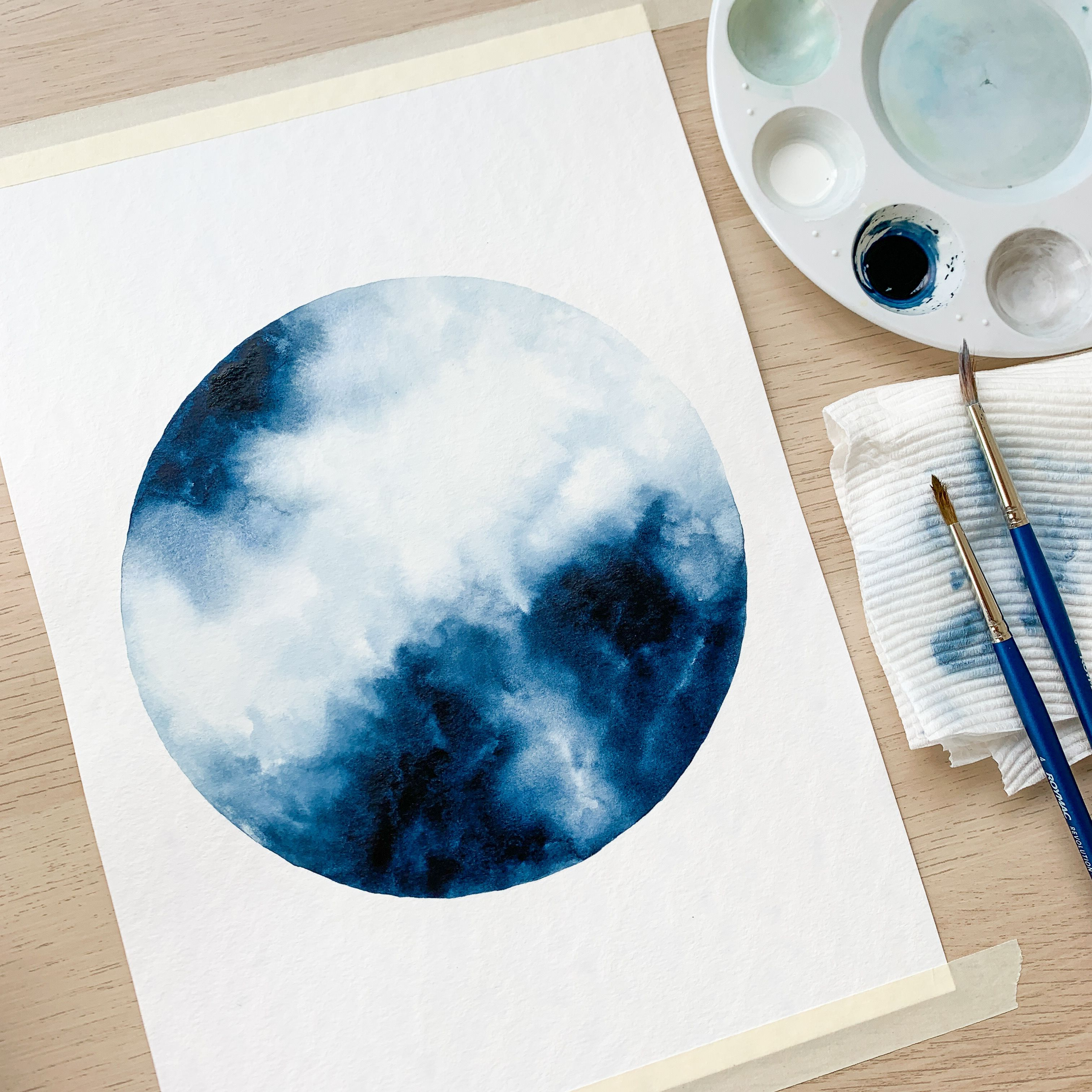 Pin By Hilal Ulcay On Illustrative Watercolor Moon Watercolor Galaxy Painting