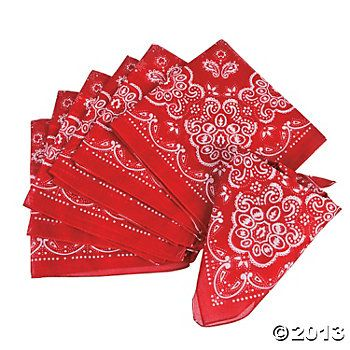 Red Bandannas, $10.50 for 12  {Oriental Trading}
