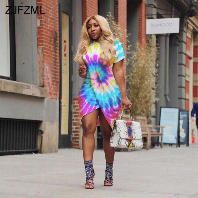 ZJFZML Front Split Sexy Plus Size Dress 2018 Women Short Sleeve O Neck  Irregular Robe Casual d5ce80e1473c