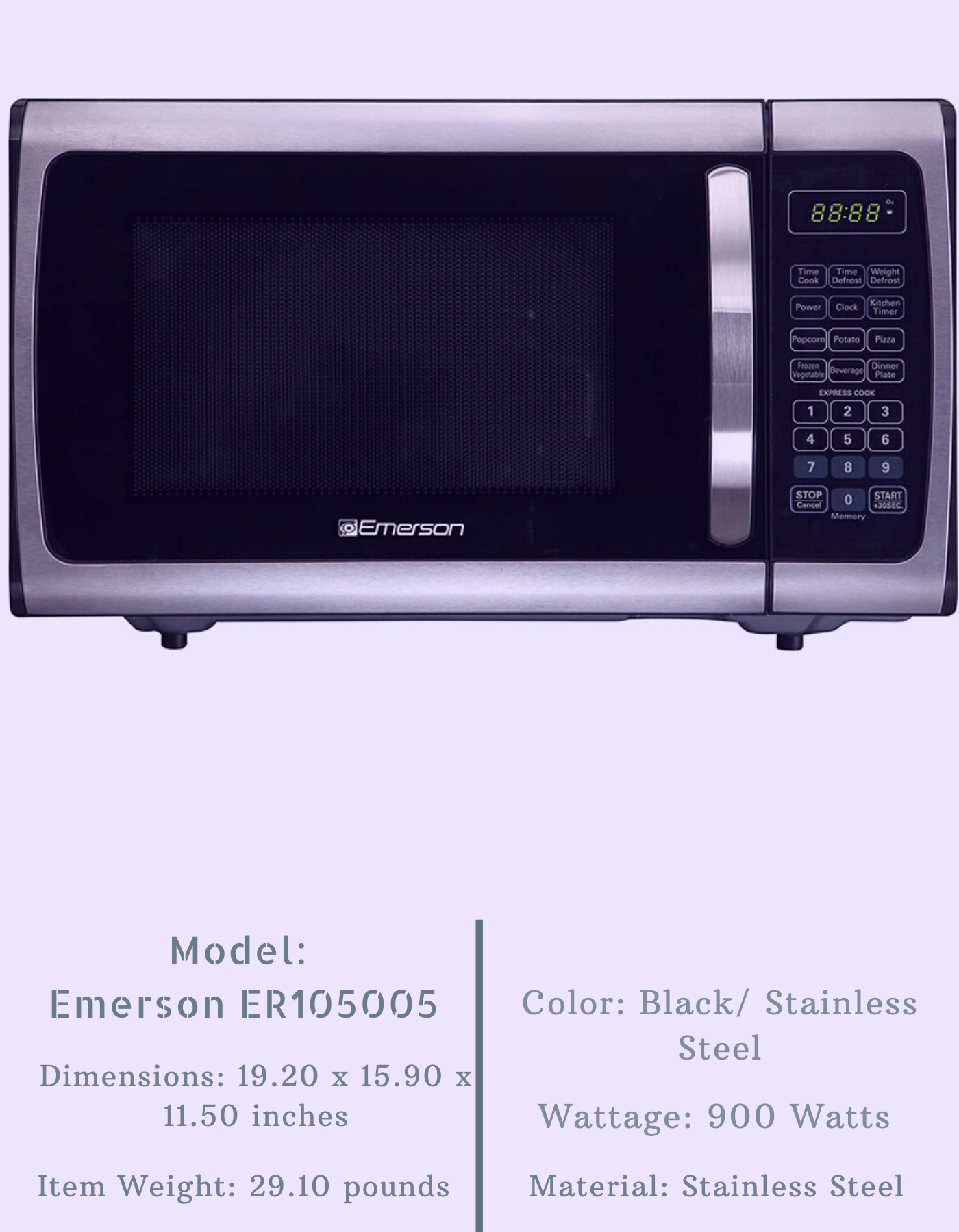 emerson 0 9 cft er105005 stainless