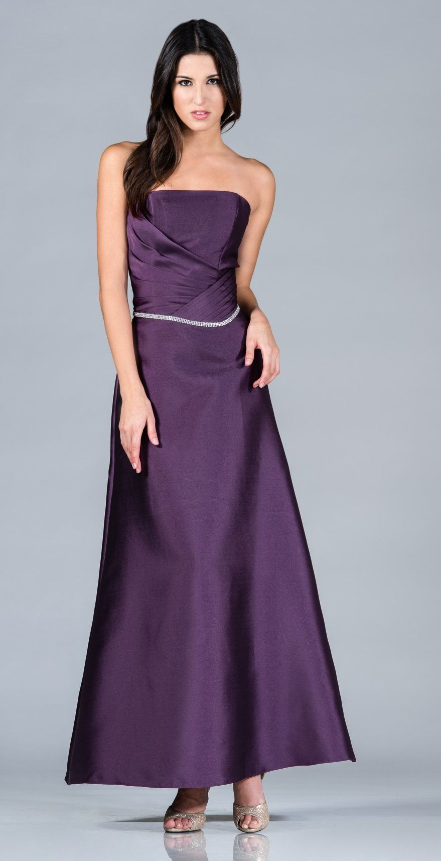 Ankle Length Eggplant A Line Bridesmaid Dress Strapless Rhinestone ...