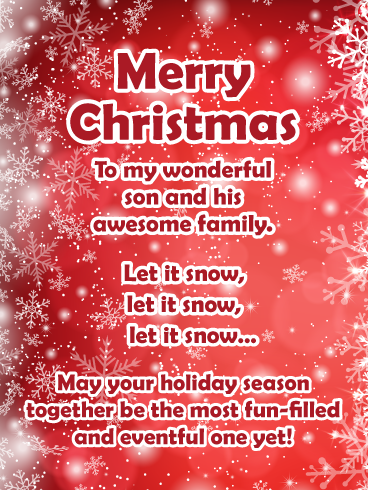 Let It Snow Merry Christmas Card For Son Family Birthday Greeting Cards By Davia Merry Christmas Wishes Text Merry Christmas Card Christmas Cards