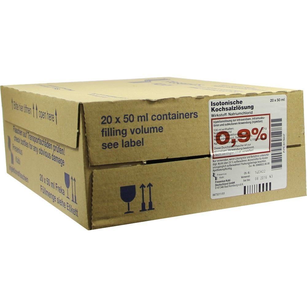 KOCHSALZLÖSUNG 0,9 prozent Freka-Fl.Fresenius:   Packungsinhalt: 20X50 ml Injektionslösung PZN: 06178437 Hersteller: Fresenius Kabi…