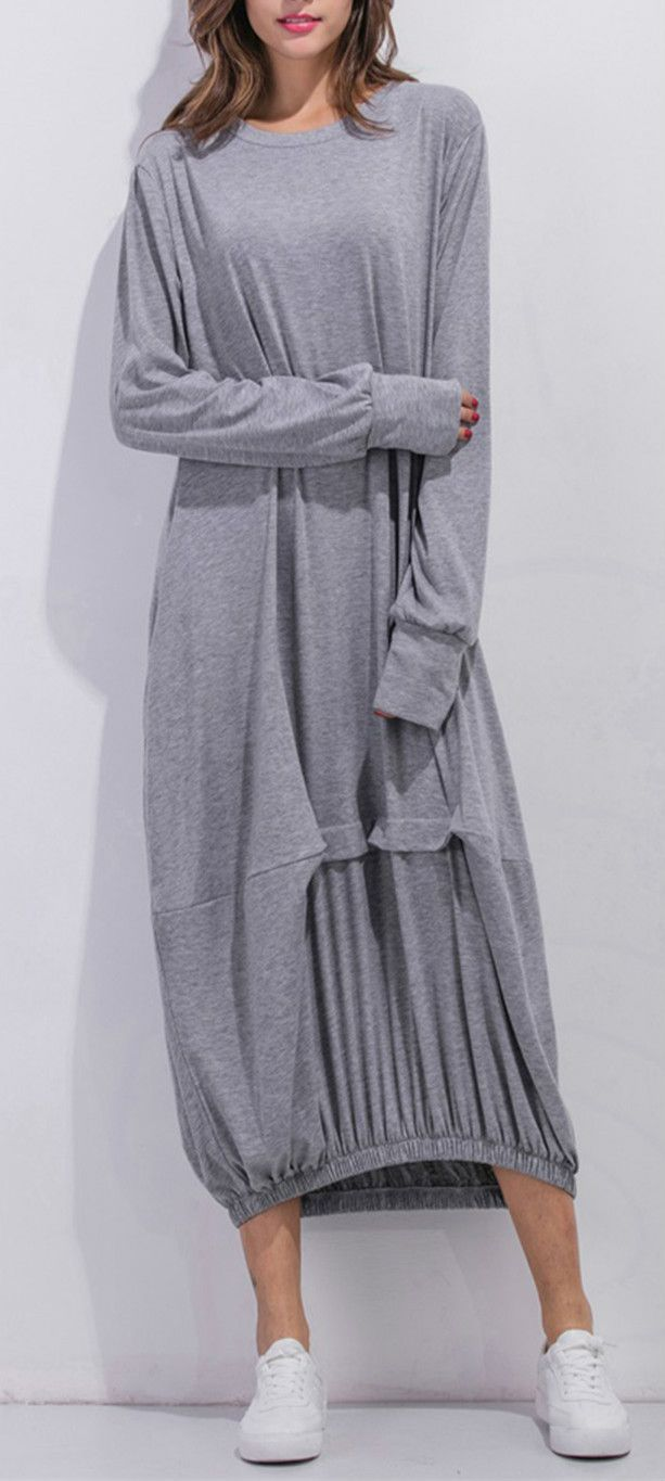 Womenus long sleeve loose fit solid maxi dress clothes clothing