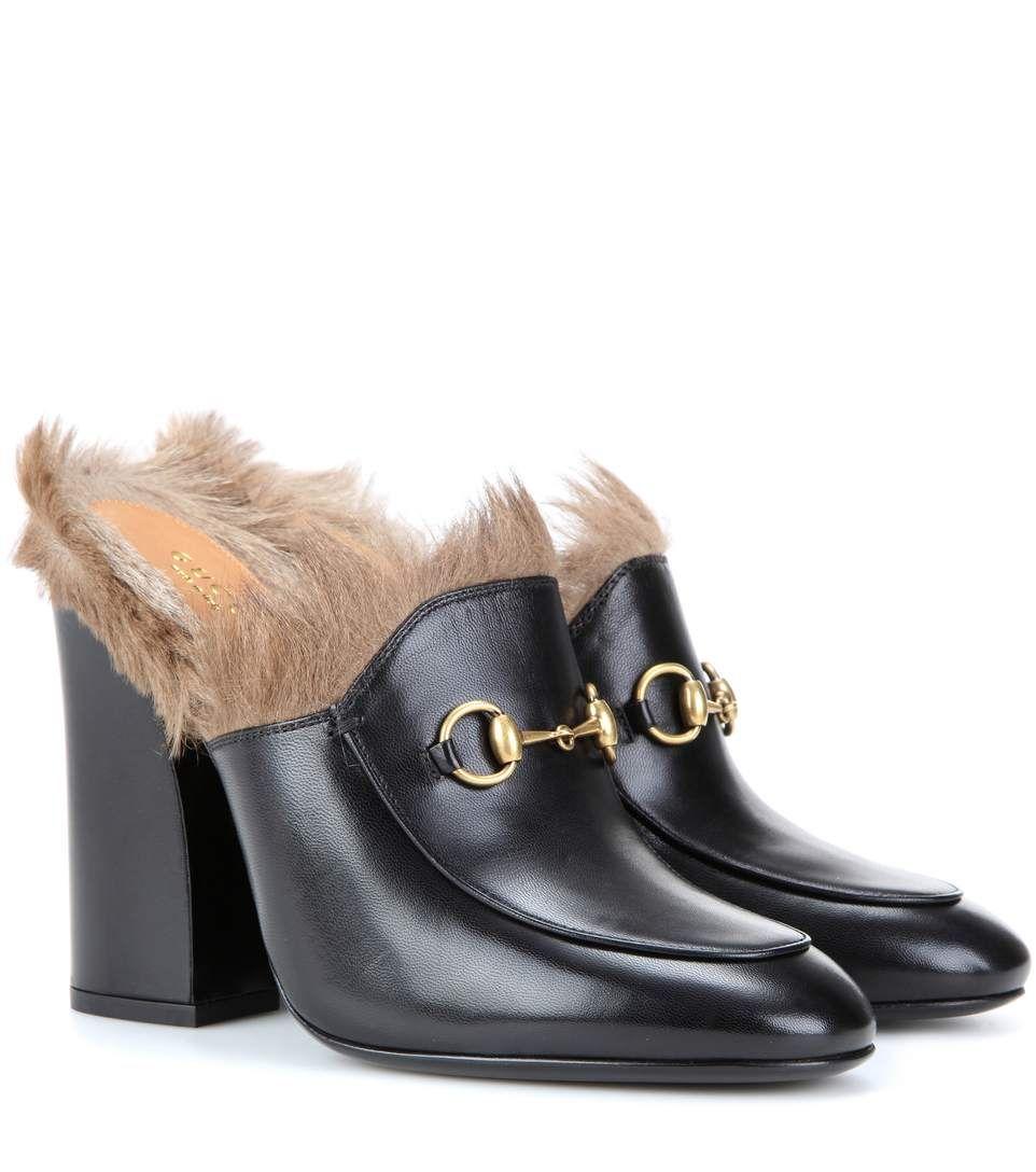 4e1021f28 GUCCI Princetown Fur-Trimmed Leather Mules. #gucci #shoes #pumps ...