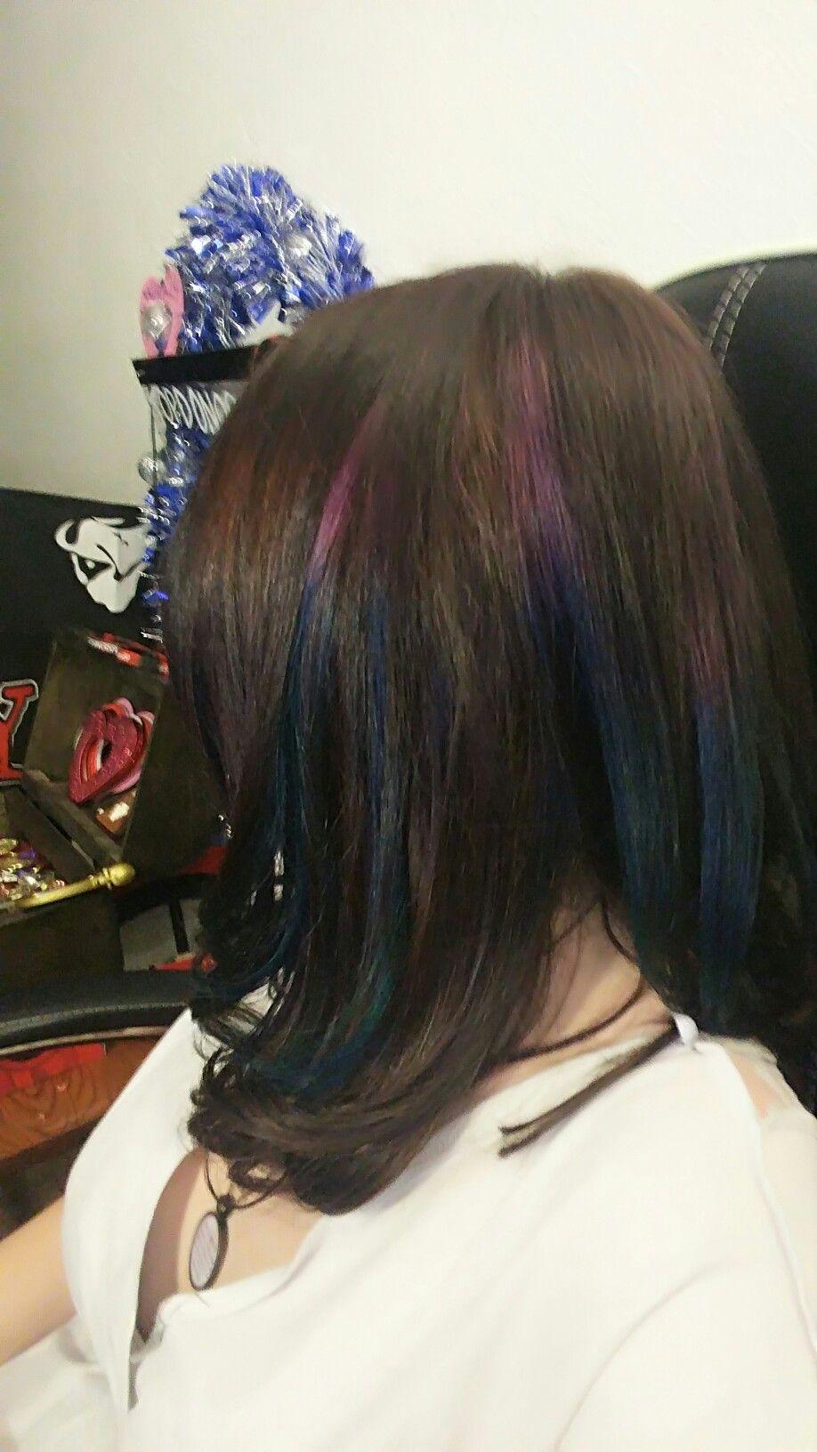 My new Peekaboo oilslick or peacock hair highlights!