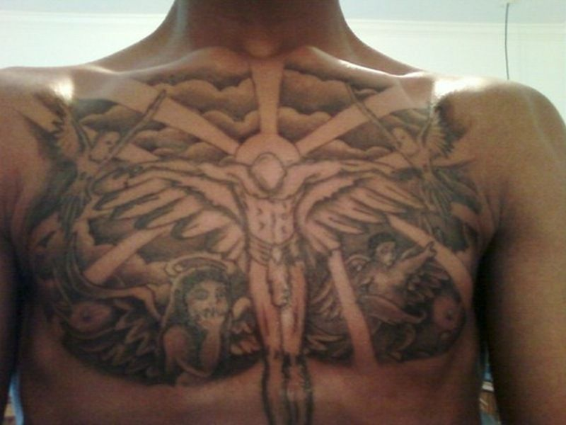Cloud Chest Piece Tattoo Designs: Cloud Chest Piece Tattoos For Men