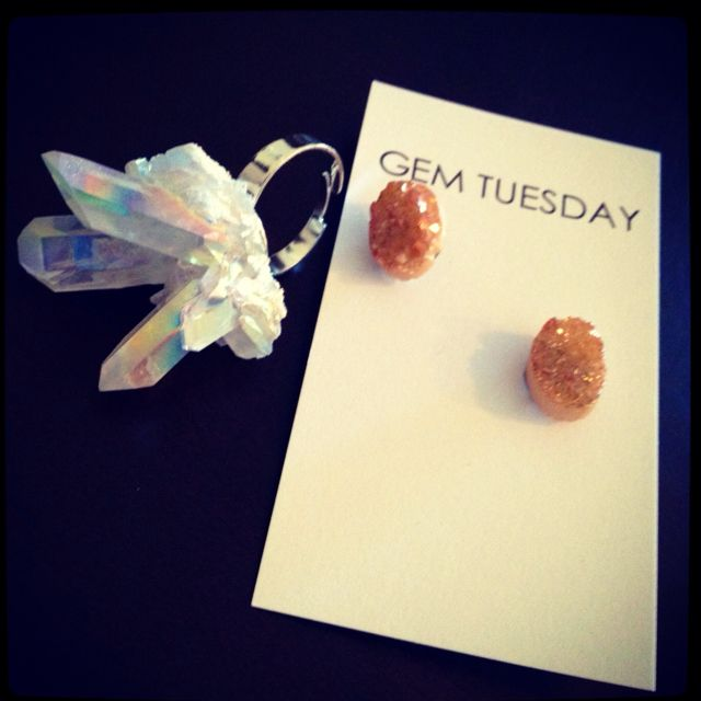 Gem Tuesday  Titanium quartz druzy cluster ring// Peach agate druzy stud earrings//