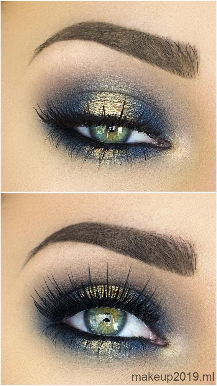 Makeupideeën spotlight / halo smokey eye in marineblauw