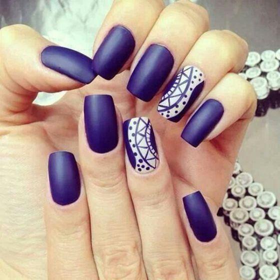 uñas pintadas azul dy blanco | karla | Pinterest
