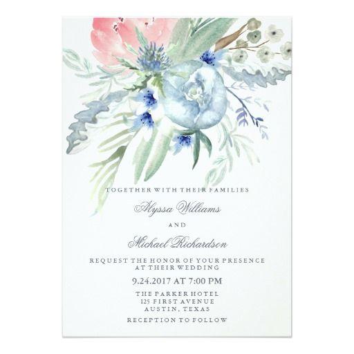 Wedding Invitations Blush /& Mint Floral Peony Bridal Shower Navy
