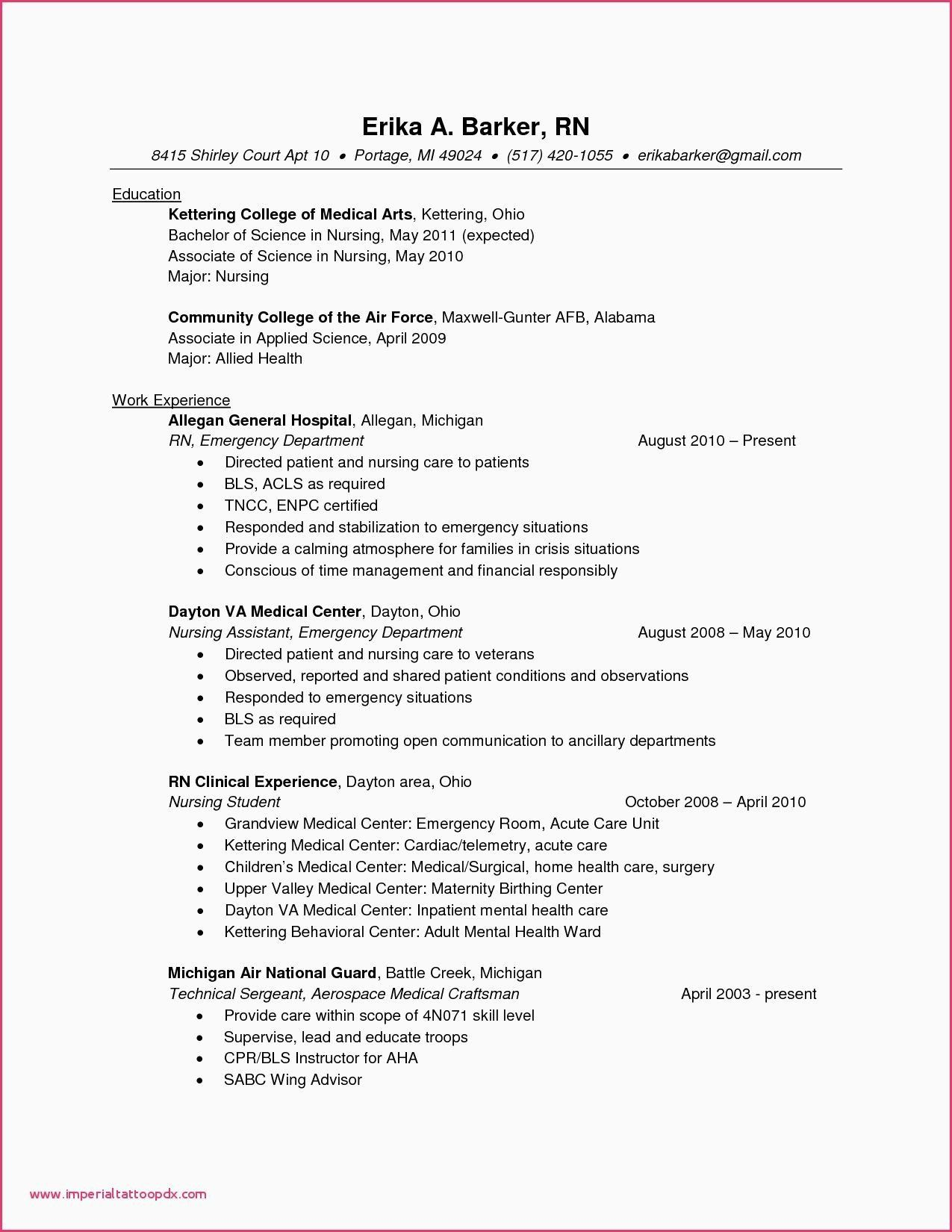 32 Elegant New Grad Nursing Resume Clinical Experience in