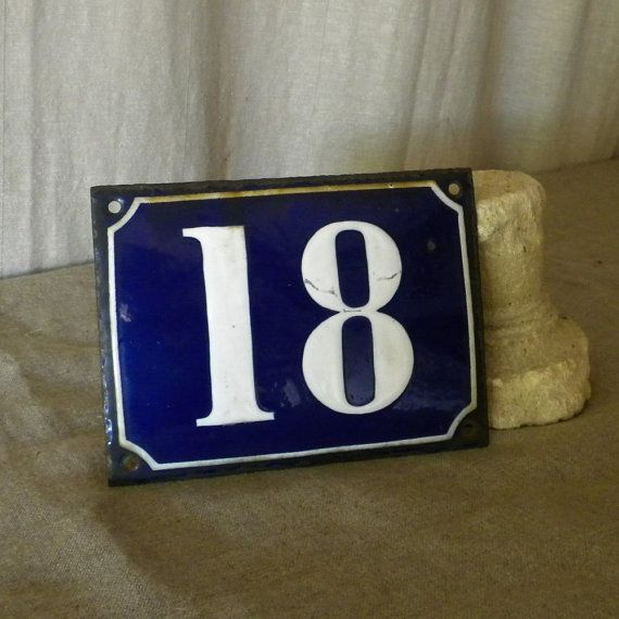 Enamel house number vintage French decor by lapomme on Etsy, $38.00