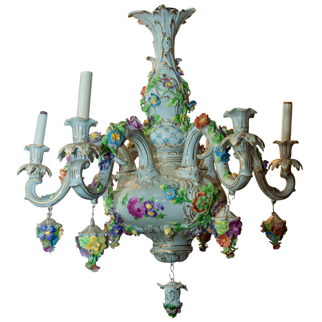 Dresden porcelain floral design six light figural cherub chandelier dresden porcelain floral design six light figural cherub chandelier arubaitofo Gallery
