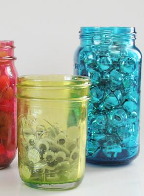 Mod Podge Colored Jar Tutorial. #crafts #diy