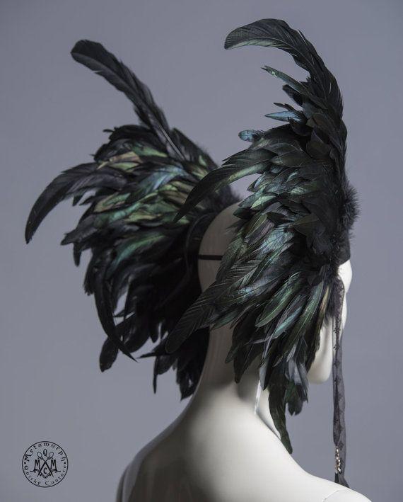 Veren hoofdtooi / Black valkyrie vleugels / zendspoel veer