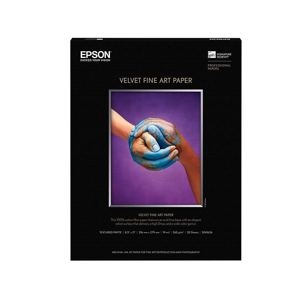 Epson Velvet Fine Art Paper Letter Size 8 1 2 X 11 White