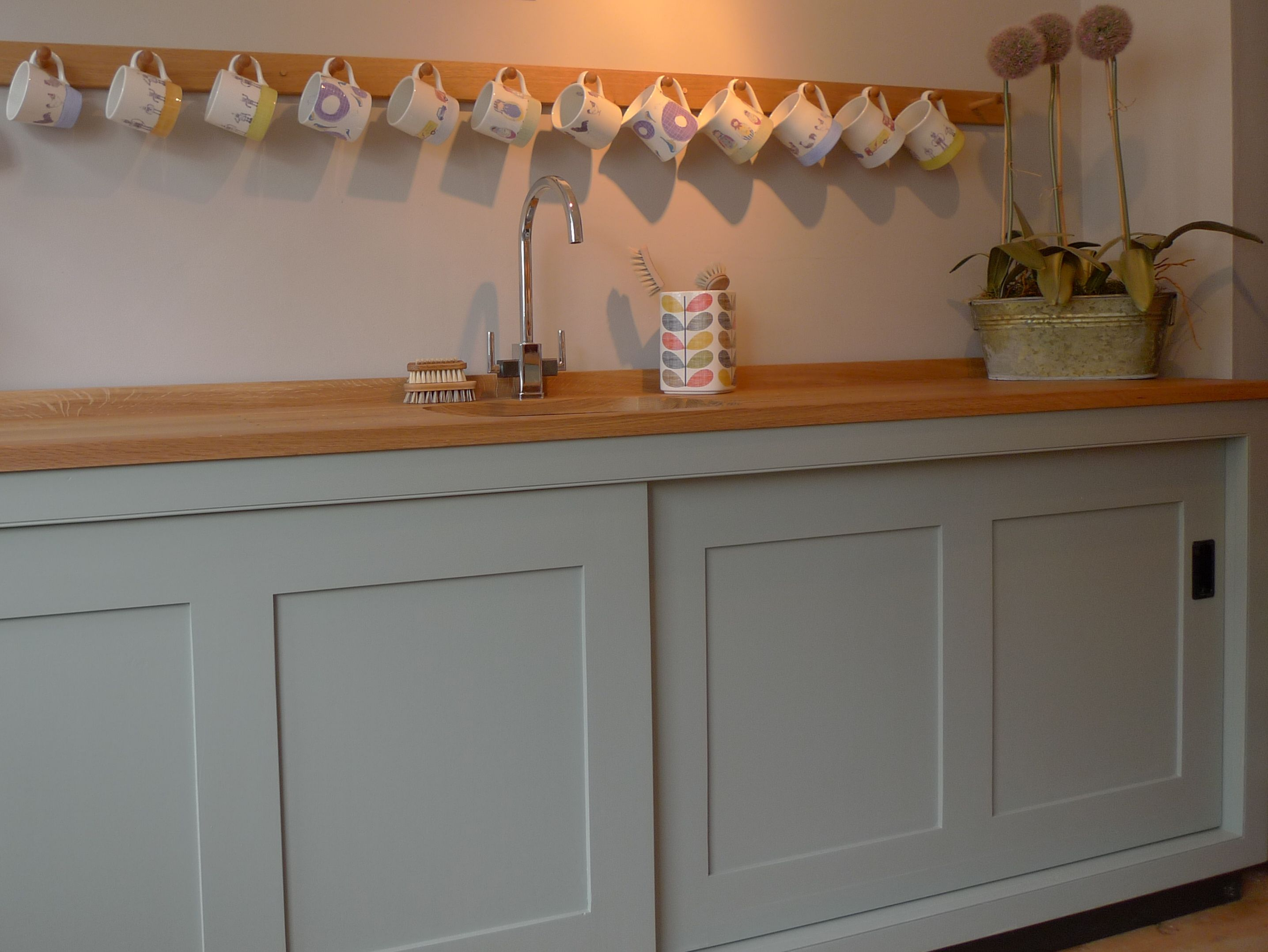 very large sliding door sink unit with peg rail above. & 10 best Peg rails images on Pinterest   Bathroom Cottage kitchens ...
