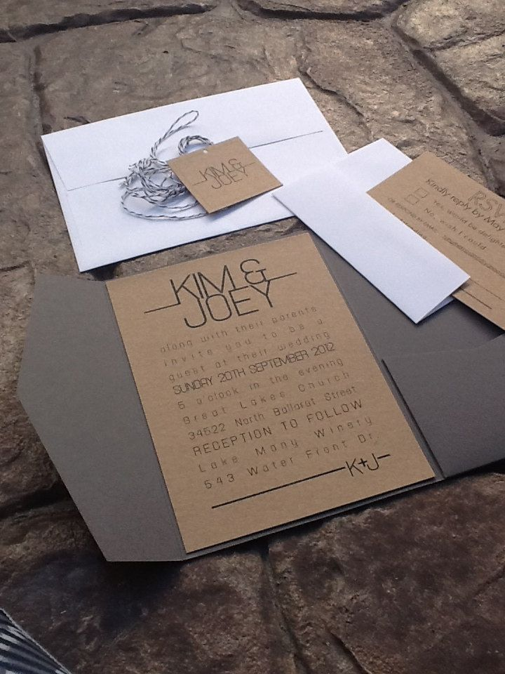 Grey pocketfold wedding invitations rsvp card