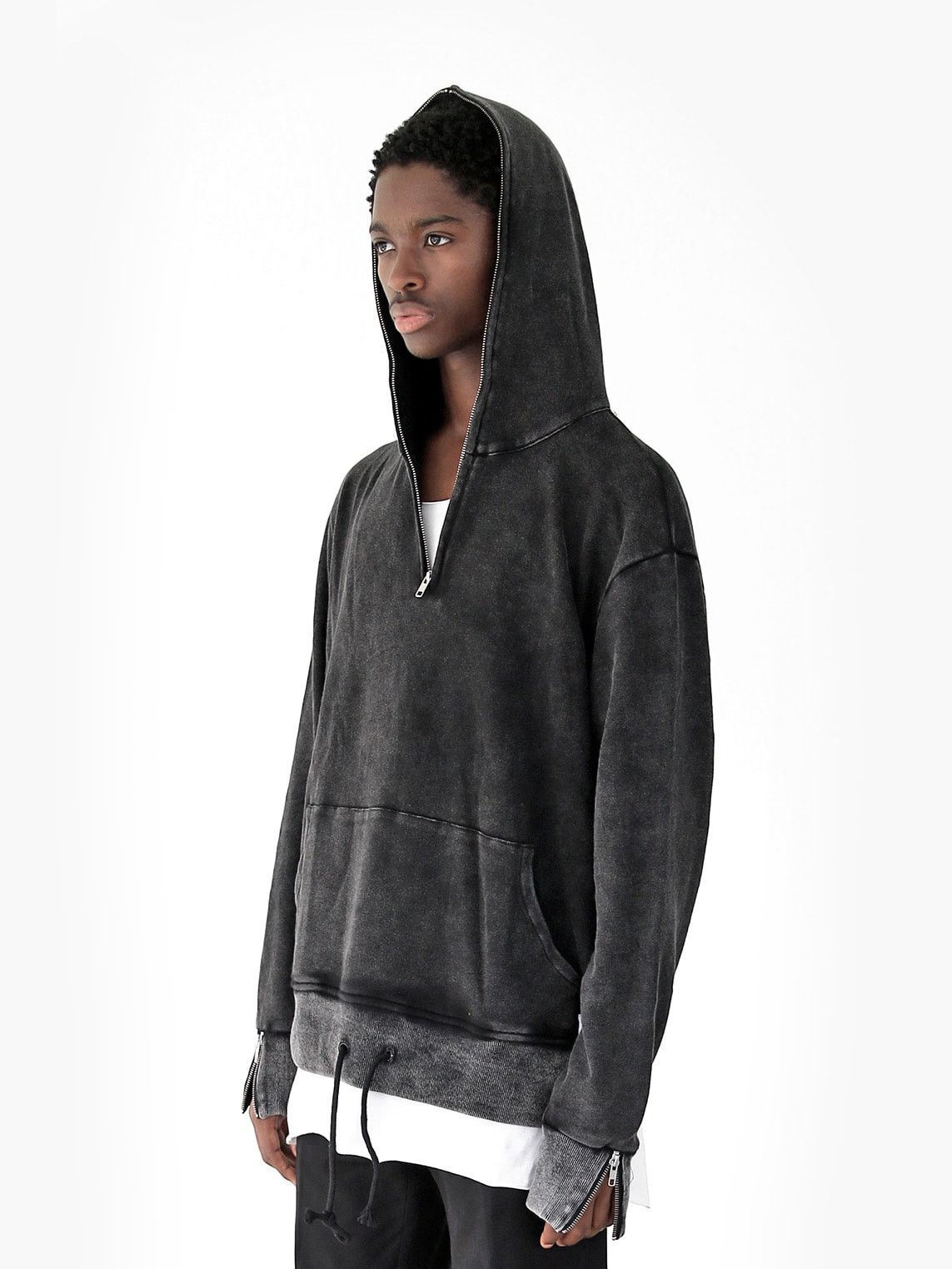 Pigment Washed Full Neck Zip Up Hoodie In Faded Black Hoodies Full Zip Hoodie Black Zip Ups