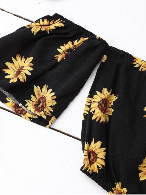 5e600b08c2a2a Off Shoulder Crop Top and Sunflower Shorts - BLACK M