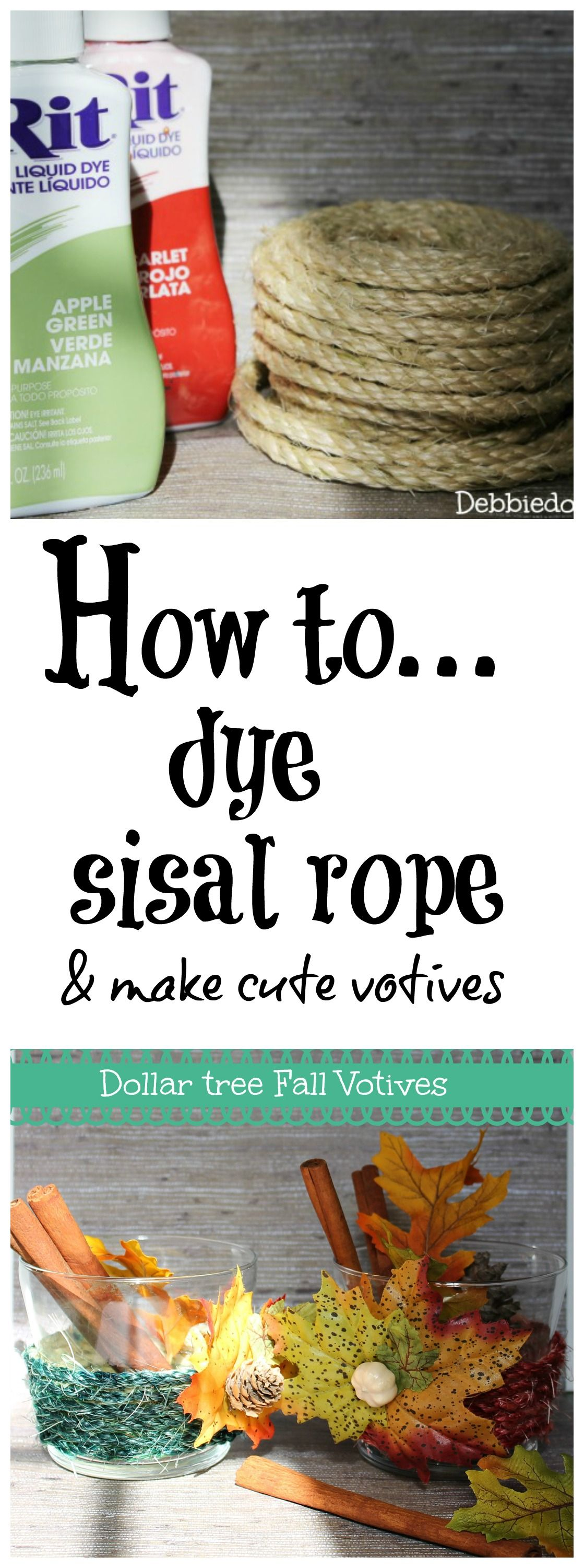 Dyed sisal rope and dollar tree votives | Share Today's