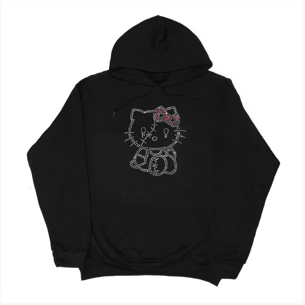 Rhinestone Stitch Kitty Hoodie Hoodies Hello Kitty Hoodie Bunny Tee