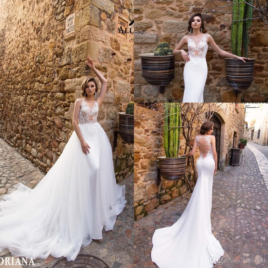 Stunning detachable train mermaid wedding dresses seethrough