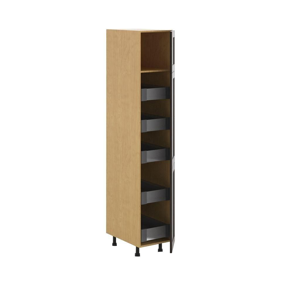 Ready to Assemble 15x83.5x24.5 in. Barcelona 5-Interior Drawer Pantry Cabinet in Maple Melamine and Door in Dark Brown, Melamine Maple