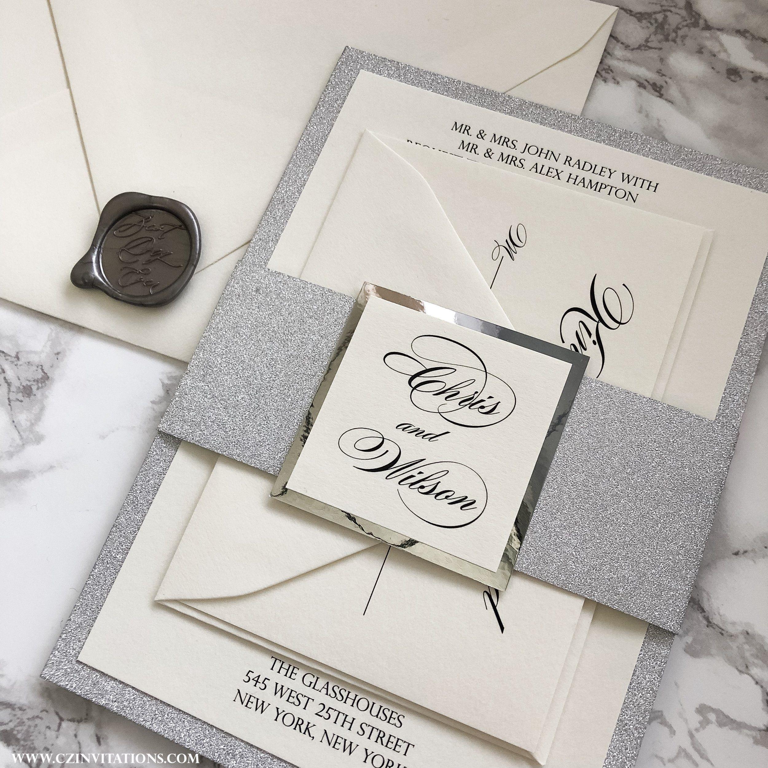 Silver Glitter Wedding Invitation With Wax Seal Silver Etsy Silver Glitter Invitations Silver Glitter Wedding Glitter Invitations
