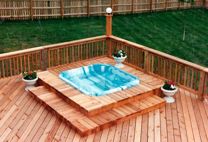Spa and hot tub decks design and construction services for Spa deck design