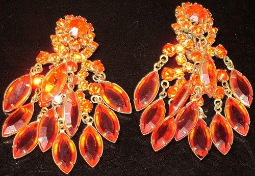 Juliana Amazing Bright Orange Rhinestone Dangling Crystal Clip Earrings | eBay