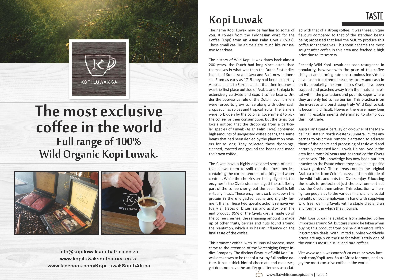 Kopi Luwak article Flat White Concepts Feb 2014 Kopi