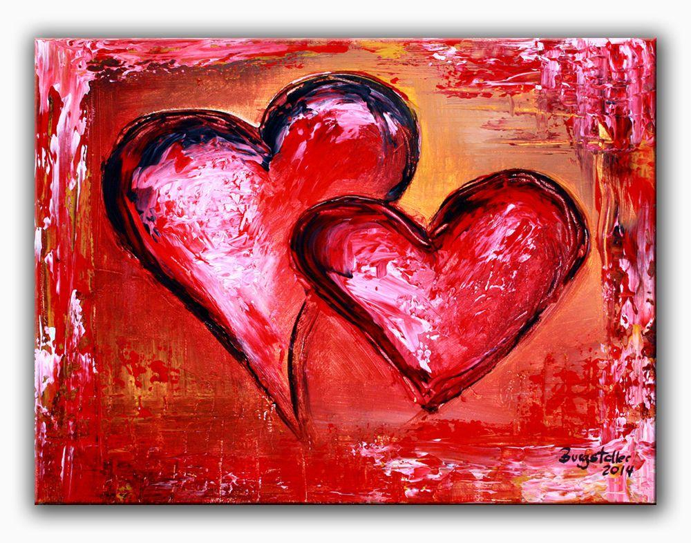 Burgstaller herzbilder acrylbild abstrakt liebe partner - Geschenk zum 60 mutter ...