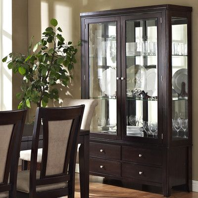 This Steve Silver Furniture Wilson China Cabinet Features An Espresso Finish Ash Veneer Over MDF Construction And Adjustable Glass Shelving Display