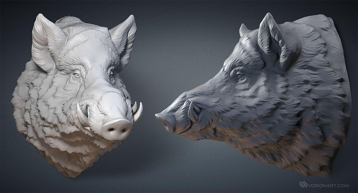 Wild Boar head digital sculpture. 3D model for CNC, 3d printing ...