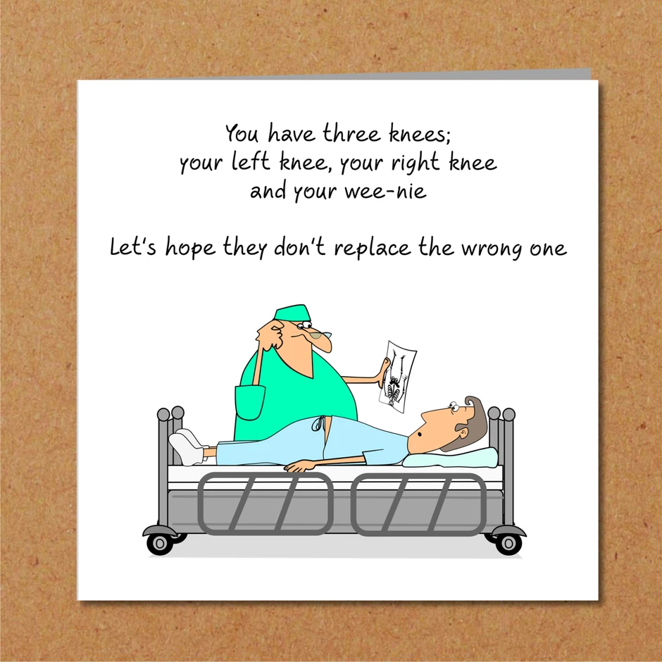 Funny Knee Replacement Surgery Card Get Well Soon Card