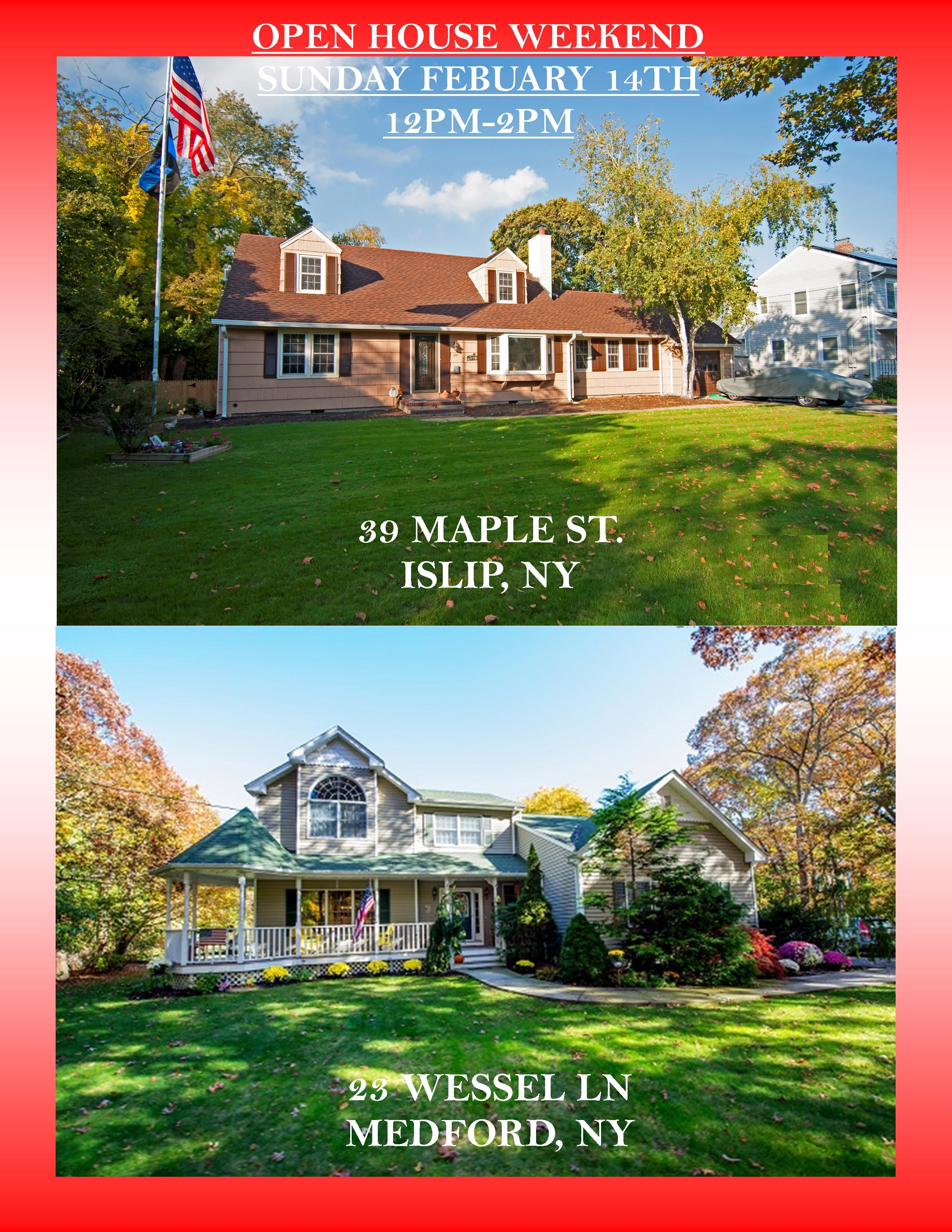 BUNDLE UP AND JOIN US FOR THIS  VALENTINES DAY OPEN HOUSE!! SUNDAY FEBRUARY 14TH 12PM-2PM FALL IN LOVE WITH YOUR NEW HOME!!  39 MAPLE ST http://www.obeo.com/1072396  23 WESSEL LN http://www.obeo.com/1076832