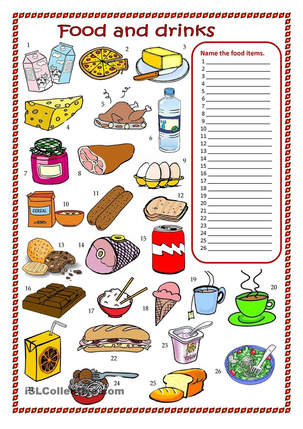 Food and drinks worksheet English Pinterest
