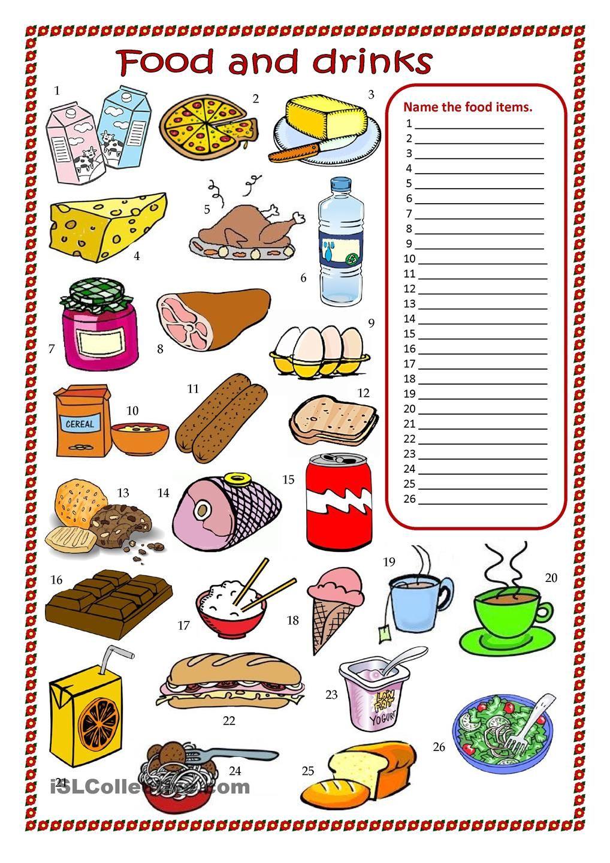 Food and drinks worksheet. Exercícios de inglês