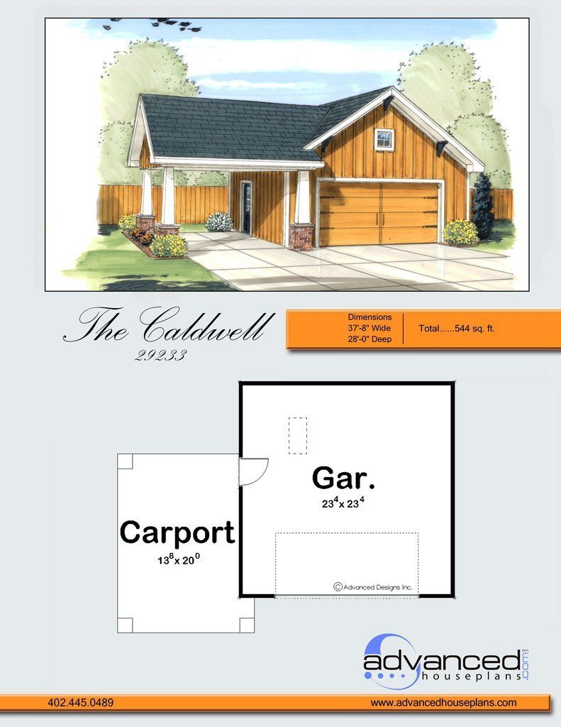 Caldwell garage plan Tapered wood columns, covered carport