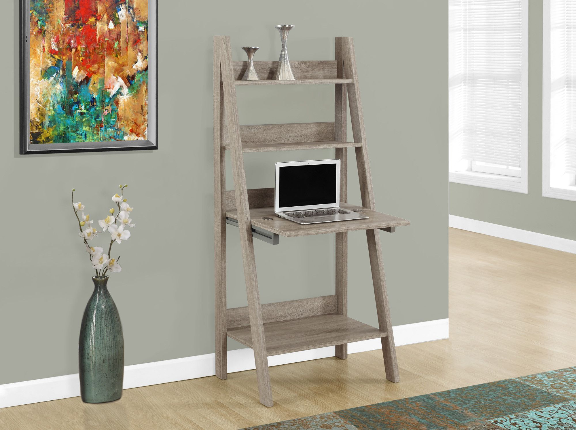 "26"" Ladder Style Desk with Fold Up Desk Top in Dark Taupe Finish"
