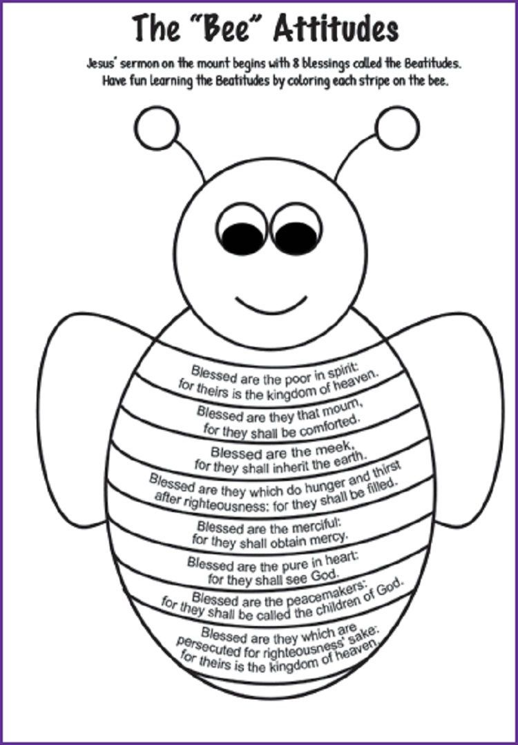 Bee Attitudes Coloring Pages Kids Church Lessons Bible Lessons