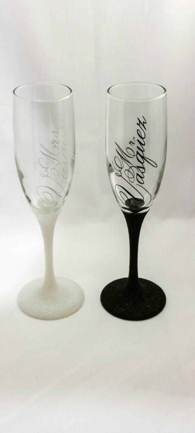Champagne Glass, Glitter dipped flute, Set of 2 Mr & Mrs Wedding ...