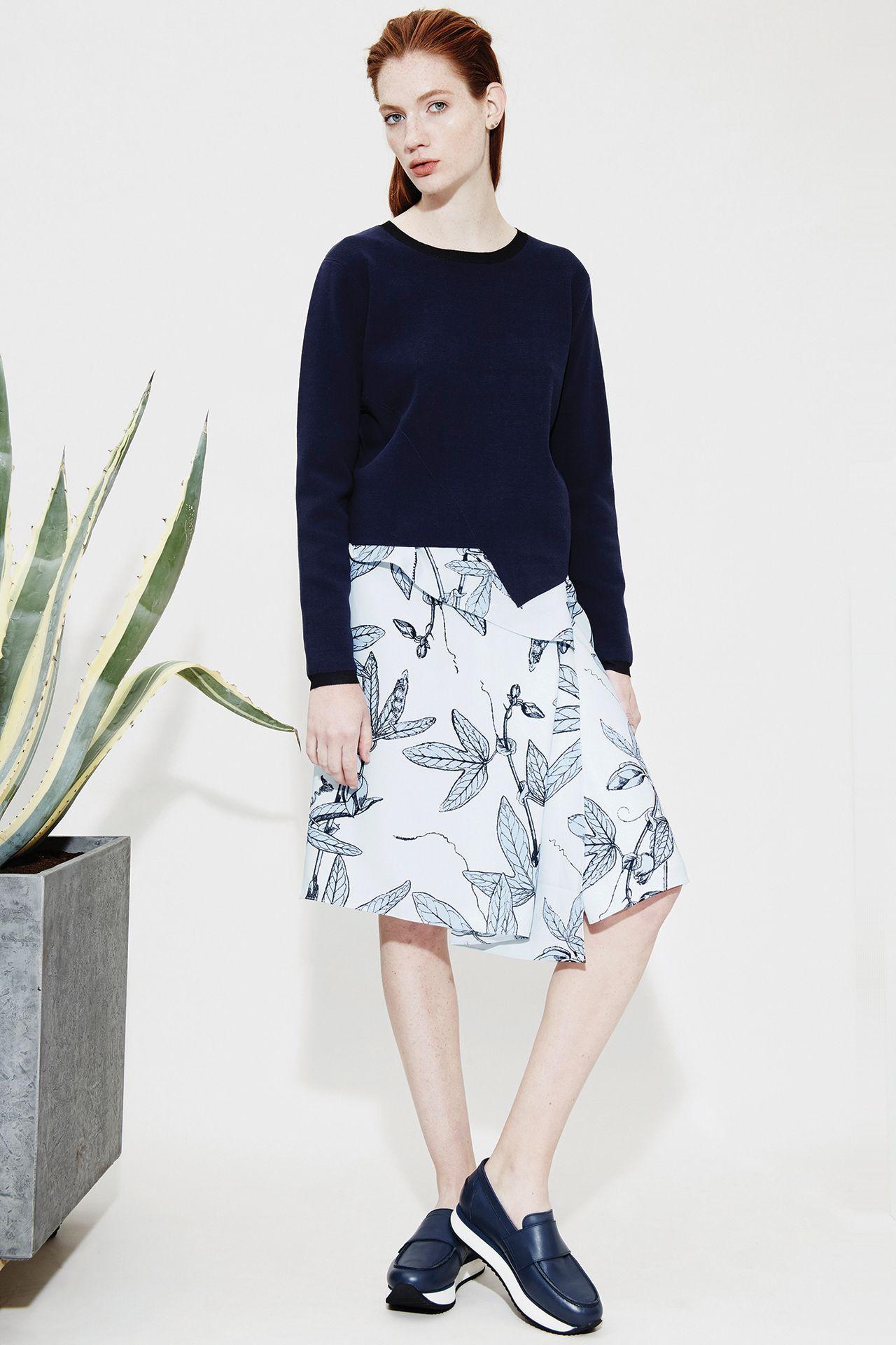 Look 11 - Mikki Asymmetric Knit | Romona Botanical Skirt | Daphne Loafer Flatforms
