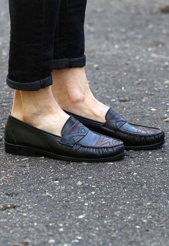 59b40570f22db Us men 8 PATCHWORK Loafers Men's 80s Vintage Black Slip On Flats ...