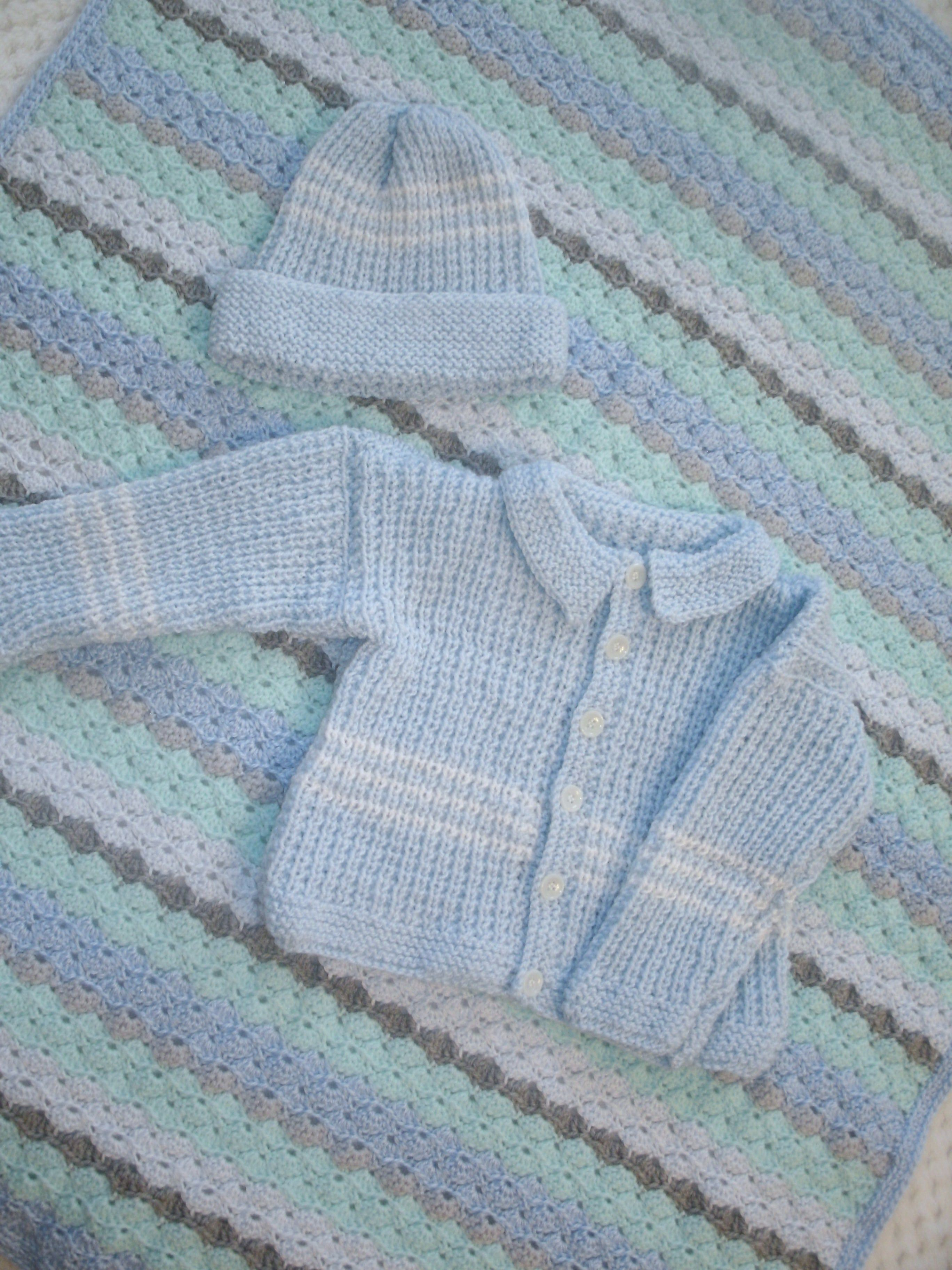 73e68be3ae09 Baby Sweater and Hat are Hand Knit in Light Blue. Little White Stripes can  be seen on the body, sleeves and hat. This set is size 9 months and is  completely ...