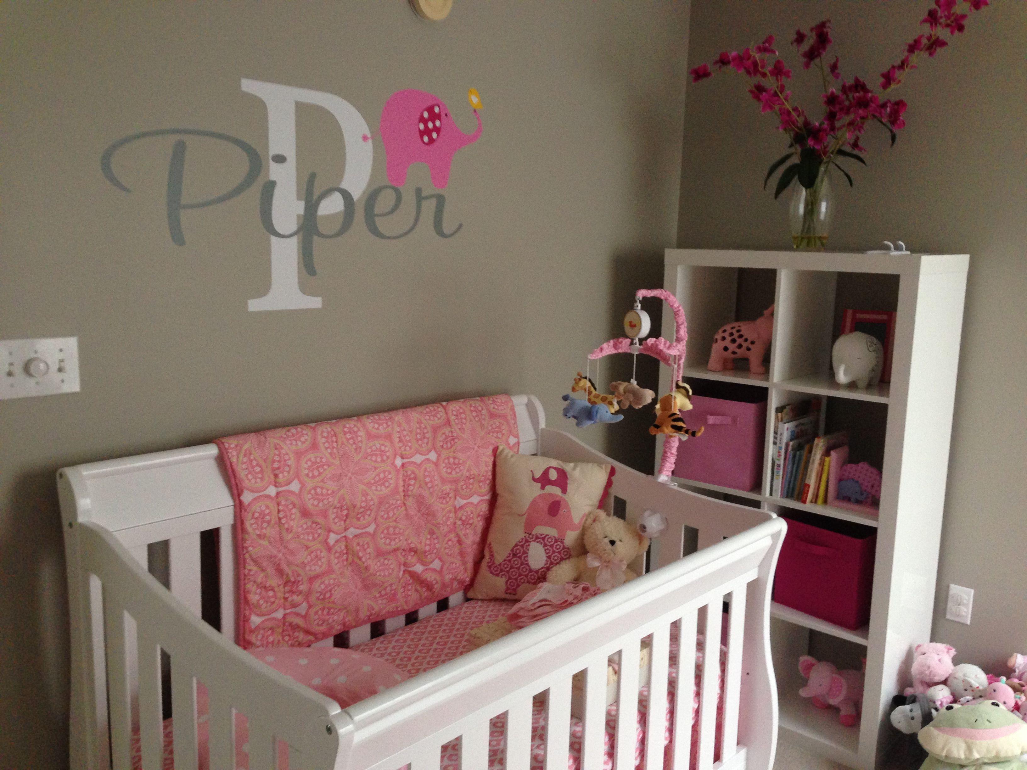 Pink elephant baby nursery Land of nod bedding pink